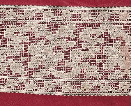 Machine Made Lace Leavers Mill copy of Italian Filet Lace