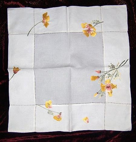 Silk Society square 22 x 23 inch tablecloth with Golden Poppies
