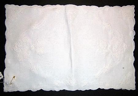 Hand med white work on 4 linen Placemats