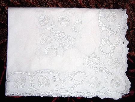 Hand made Madiera lace tablecloth