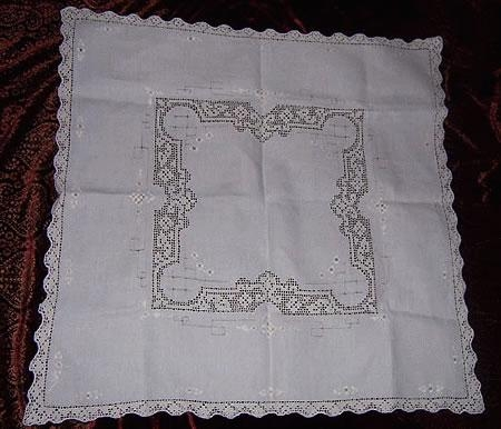 Hand made Italian Filet lace small tablecloth