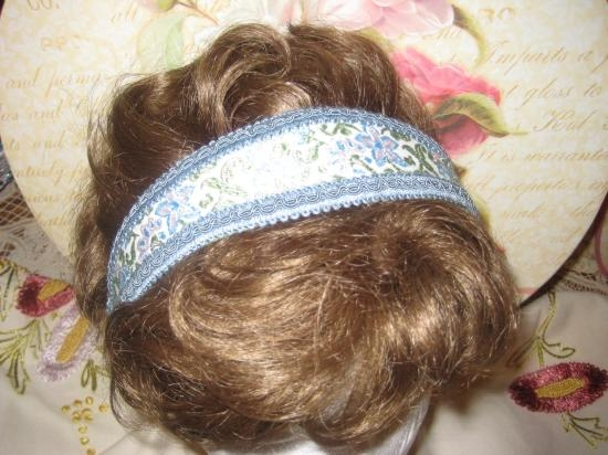 HEAD BAND BLUE SILK HAND WOVEN TRIM