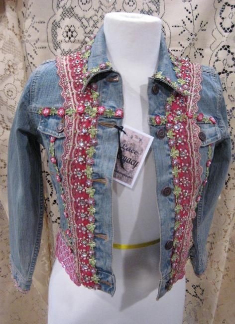 Pink Denim Jacket hand beaded trim