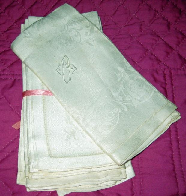 Damask Napkins Victorian to Edwardian era