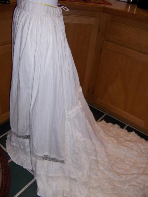 1870's Bustle Wedding Slip w/Torchon Lace