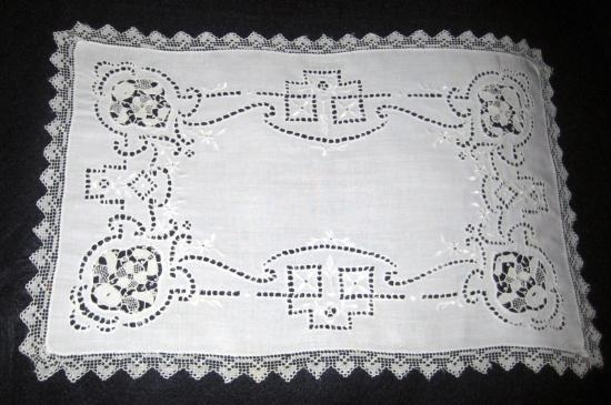 Pair of Antique Handmade Needlelace Placemats