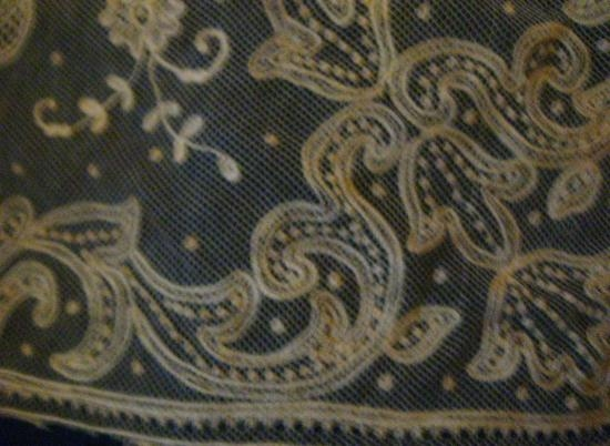 Antique Handmade Tambour Lace Panel AMAZING