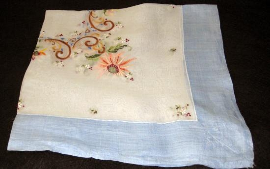 White & Blue Silk OrgandyEmbroidery cloth SS-48
