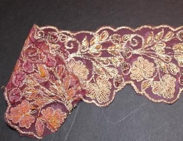 Silk Gold trim all handmade..delicious piece. 2 1/2 wide