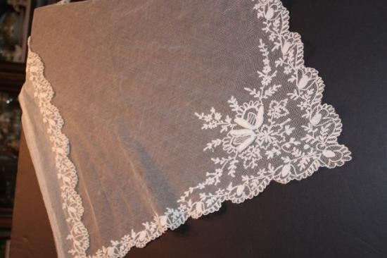 Handmade Tambour lace veil panel..perfect for small veil 22x24
