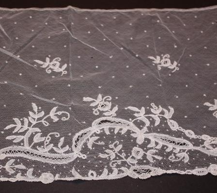 Brussels handmade lace 13 x 37 inch panel.