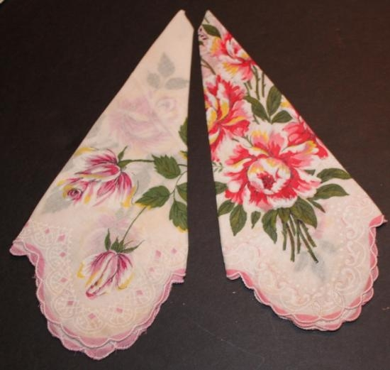 Vintage hankies set of two floral