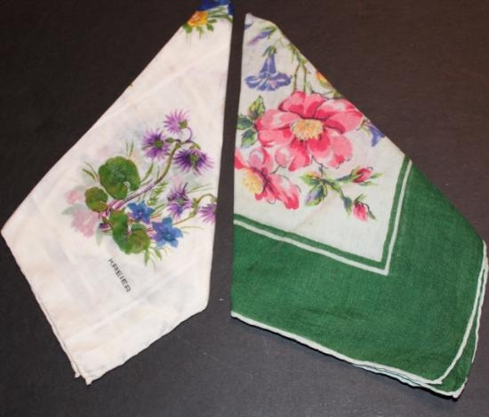 Set of two vintage floral hankies