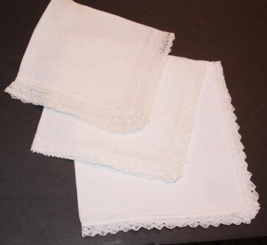 Set of three handmade hankies