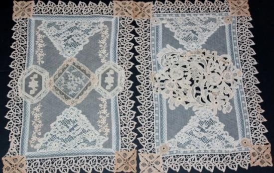 Normandy Lace/Vintage Handmage/Machine Made Nightstand/Placemat Set-1  2 pieces