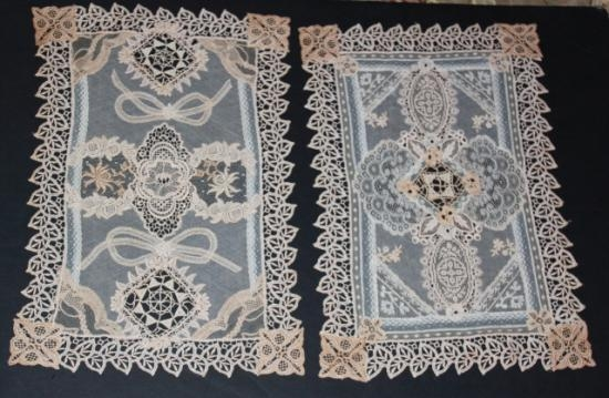 Normandy Lace/Vintage Handmage/Machine Made Nightstand/Placemat Set-2  2 pieces