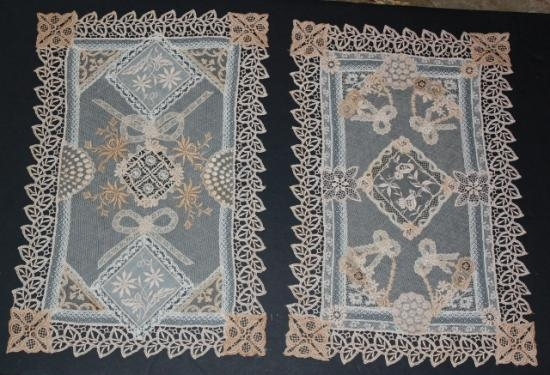Normandy Lace/Vintage Handmage/Machine Made Nightstand/Placemat Set-3  2 pieces