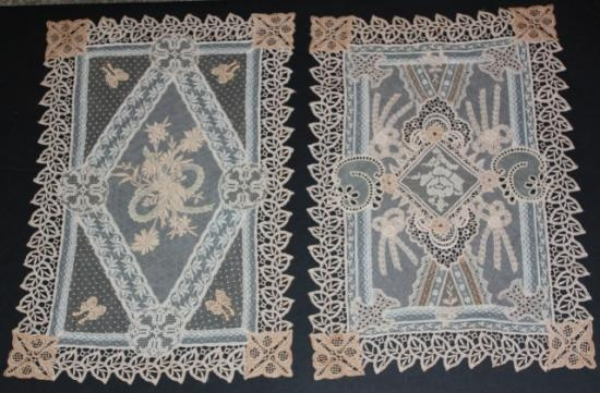 Normandy Lace/Vintage Handmage/Machine Made Nightstand/Placemat Set-4  2 pieces