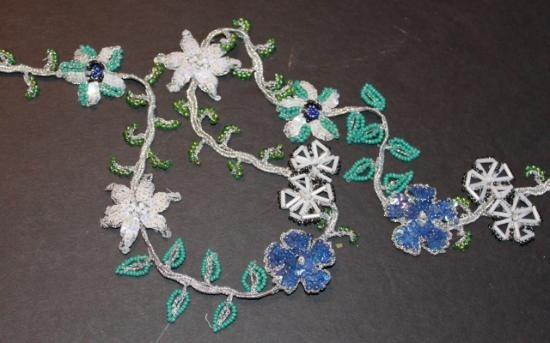 Handmade Beaded Trim Flower #6