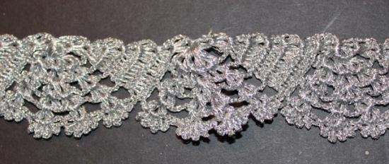 Trim #20 Hand woven silver lace 1.25 inches wide