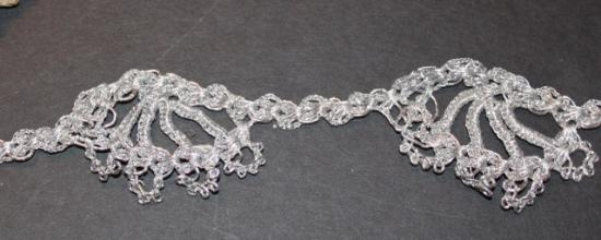 Vintage silver lace trim # 19  1.75 inches wide