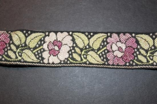 Vintage # 4 handwoven silk and cotton trim 1 3/8 wide