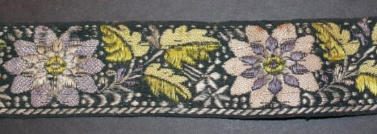 Vintage handwoven silk cotton trim ribbon 1 3/4 inch wide