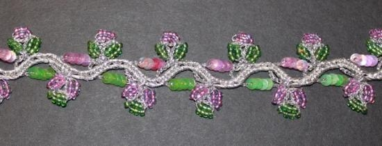 Vintage stunning pink and green beaded trim # 23