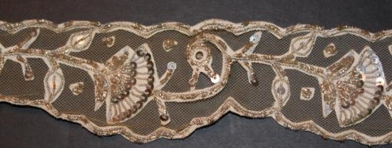 Antique handmade guipure trim on net lace #30