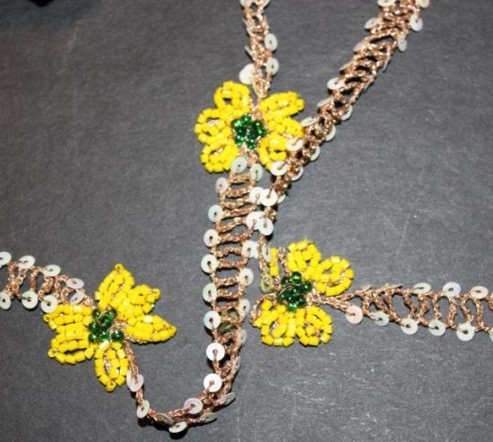 Antique handmade beaded trim yellow flowers #31