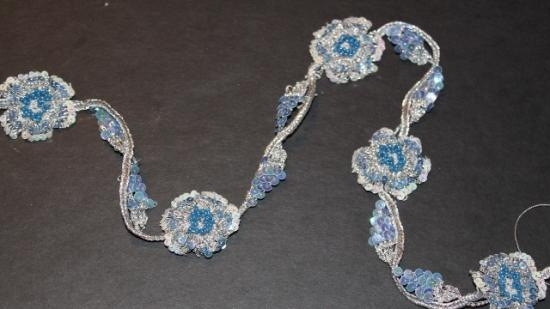Antique Handmade beaded trim in blue glass beadswith silver threads 35