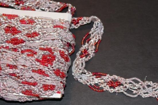 Vintage handmade beaded trim red and white silver threads stunning piece #38