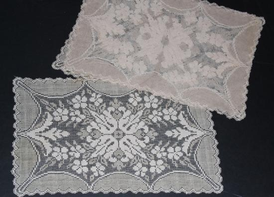 Antique filet lace net placemat set of 4 Dark Ecru #6