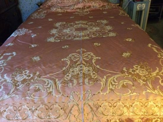 Italian Silk Brocade Rose colored large coverlet