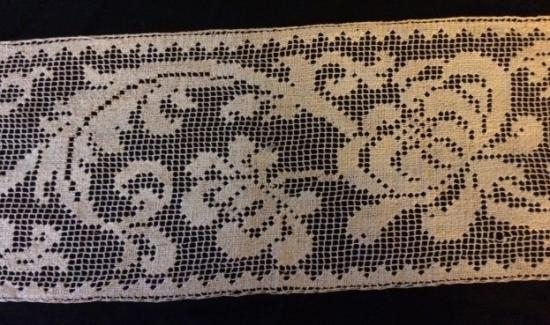Handmade  Filet Lace 8 inches wide