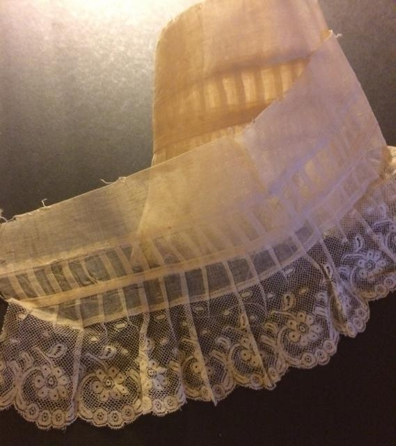 Handmade Valecienne Lace and gathered Crinoline 7 x 61 #214