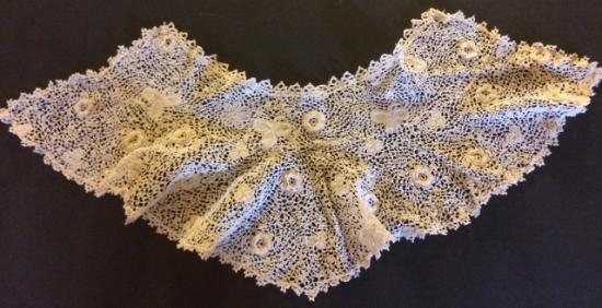 Irish Lace12 inch neck possible cuff old childs collar? #744