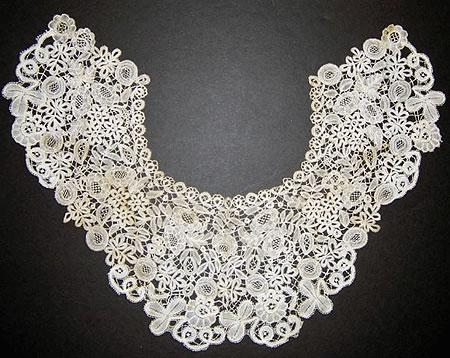 Handmade Belgian Brussels large lace collar 17x 7x17