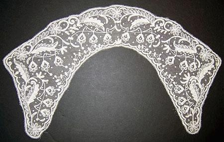 Handmade Brussels appliqud lace collar